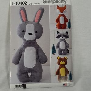 Simplicity sewing pattern R 10402 Plush Bunny Bear